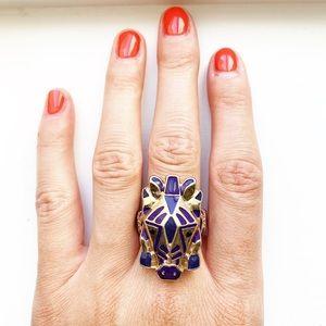 Chunky gold & purple enamel zebra ring